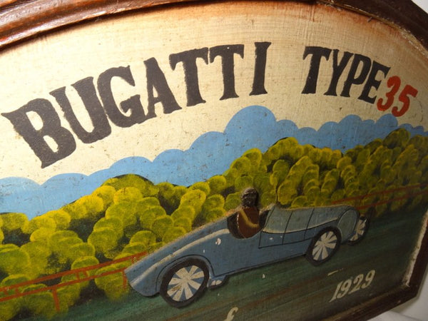 Art Deco Arched Wooden Hand Painted Bugatti Type 35 Wonde Car Sign