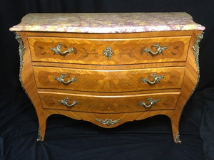 Antique French Louis XVI Style Bombe Marquetry Marble Top Canted  Credenza