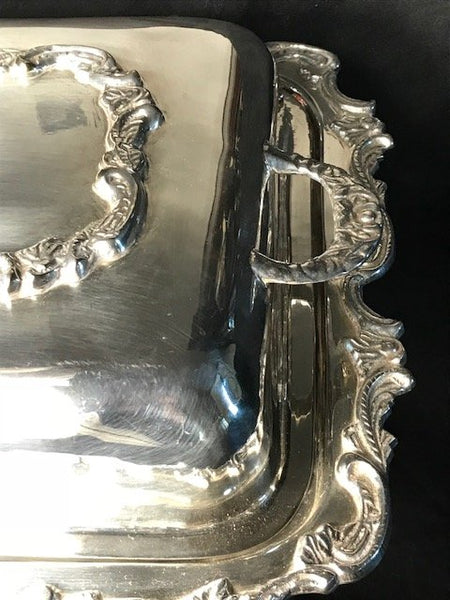 Regency Style Silver Plate Acanthus Entree Bain Marie Last Susan Server Dish Stand