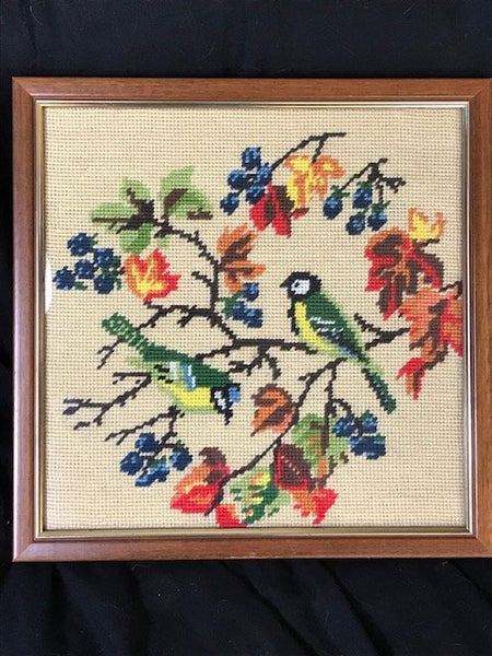 Beautiful Vintage Art Tapestry Exotic Birds In Tree Scene Wall Hanging