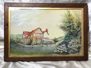 Oil Painting 1950's Surrey Summer Country House Conservatory Landscape Signed