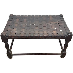 Art Deco Oak & Leather Strapped Brass Studded Footstool