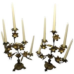 Pair Art Nouveau French Gilt Bronze Ormolu 5 Branch Candelabra's With Wax Candles