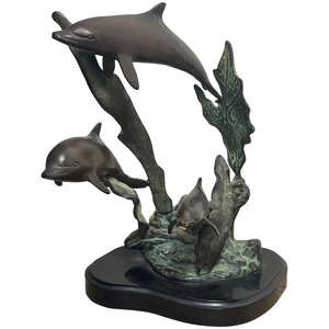 Nautical Small Art Deco Style Bronze 3 Dolphins Sculpture