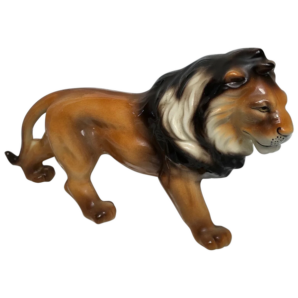 Vintage Beautiful Pottery Wild Lion Animal Figurine Ornament