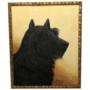 English School Circa 1934 Watercolour Painting Portrait Black Scottie Terrier