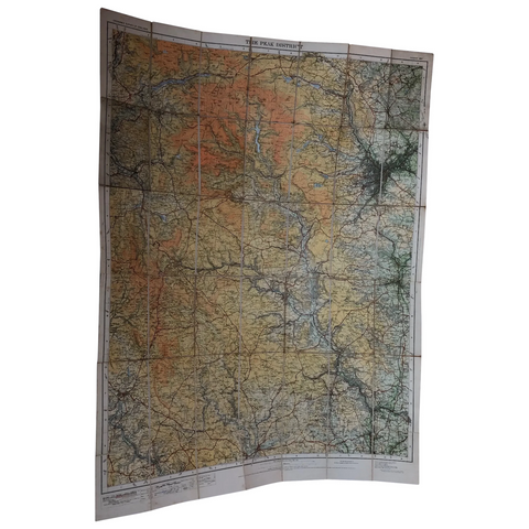 Vintage Original Early 20th Century Peak District Linen Map Book Wall Hanging