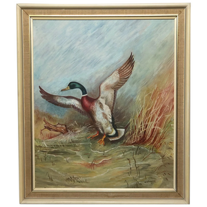 20th Century Art English Oil Painting Mallard Bird Duck Rising Up W.S Pickering