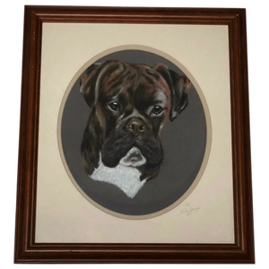 20th Century Pastel Drawing Painting Bulldog Animal Portrait Signed Sue James