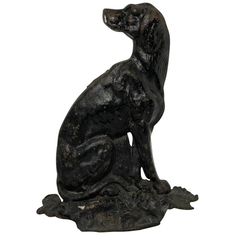 English Country Home Victorian 19th Century Seated Hound Dog Cast Iron Door Stop