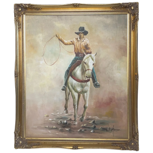 Fine Art American 20th Century Oil Canvas Painting Rodeo Cowboy Riding Horseback