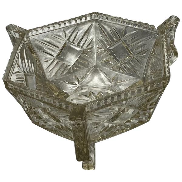 French Art Deco Style 20th Century Geometric Hexagon Glass Fruit Bowl