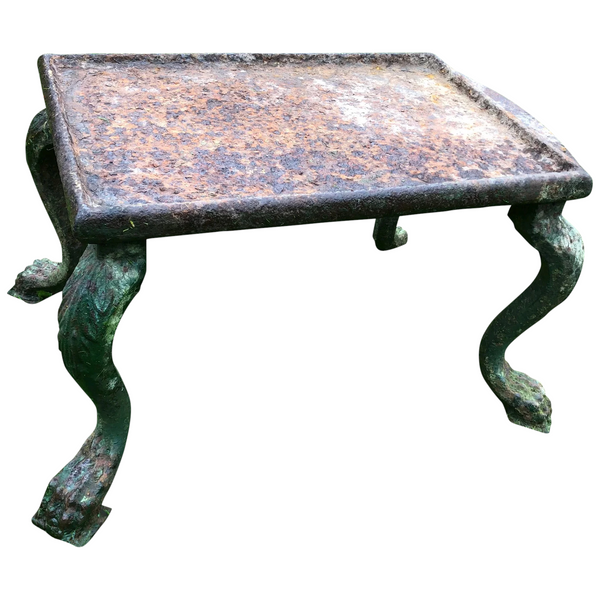 Antique French 18th Century Grand Tour Garden Cast Iron Plinth Table Lion Claw Feet Legs