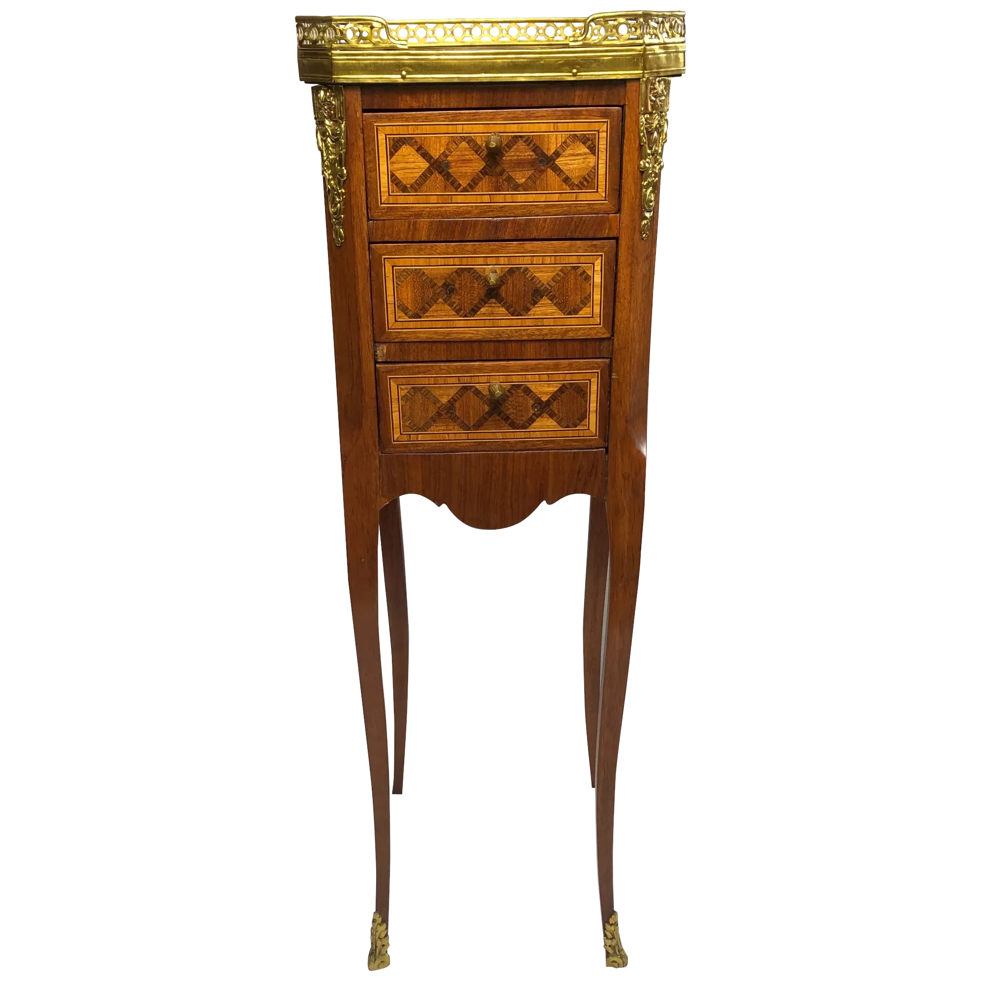 French Louis XVI Style Marble Top Gallery Satinwood Marquetry Slender Bed Side Table