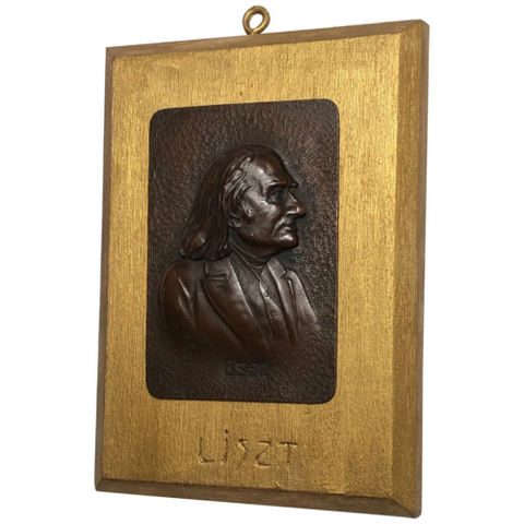 "Antique Bronze Sculpture Franz Liszt ""Music Pianist Composer Wall Plaque Signed"