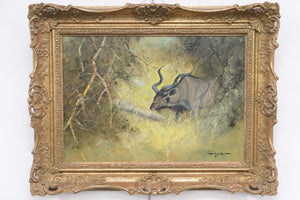 Fine Original Artwork Oil Painting Kudu Antelope Wild Animal Bush South Africa