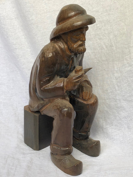 1 Vintage Hand Crafted Carved Wood Man Figurine Pipe Smoker Sculpture Beautiful