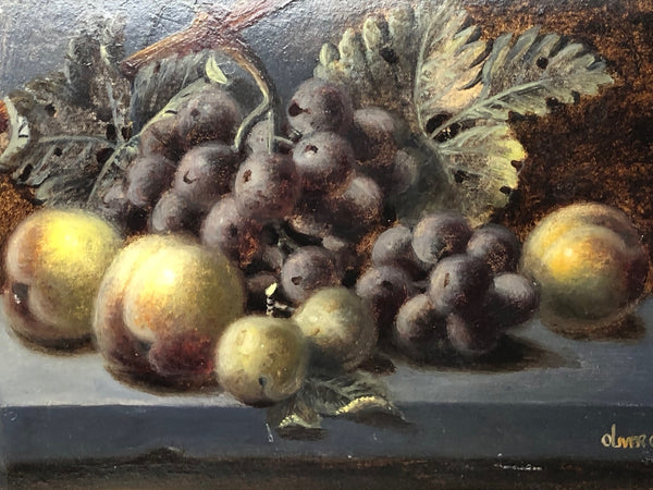 Victorian Oil Painting Still Life Grapes Peaches Figs Fruit Listed Oliver Clare