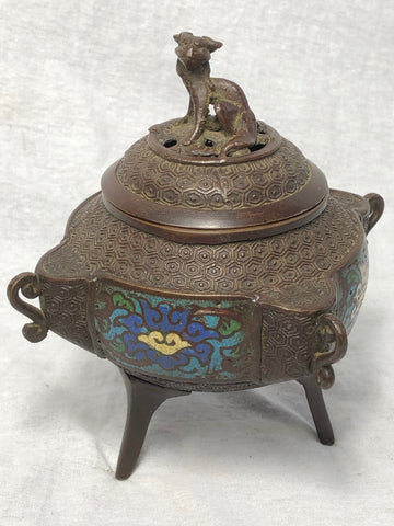 Rare Antique Mid Victorian Bronze Japanese Enamel Inlaid Incense Burner With Lid