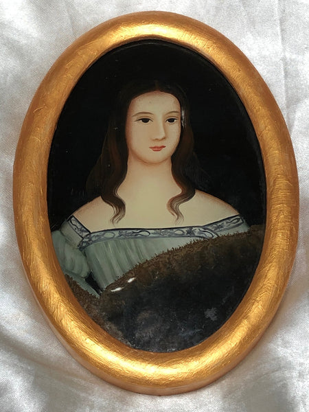 Italian School 19th Century Miniature Portrait Countess Noble Lady Oil Painting