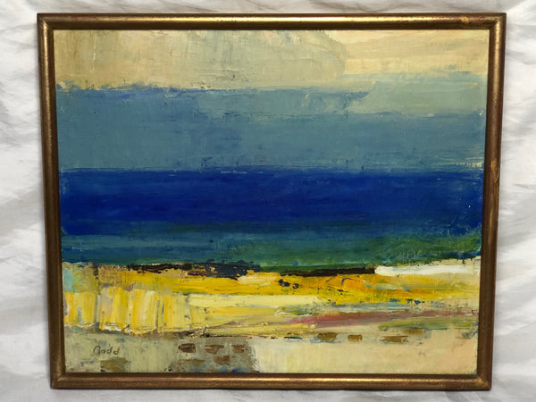 Cubism Oil Painting Stenungsund Swedish Coastal Beach Karl Axel Gadd 1910-1997