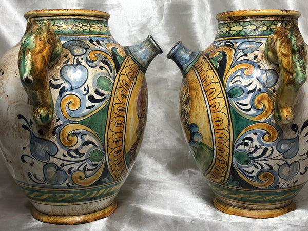 Vintage Italian Pottery Pair Sea Horse Romantic Lovers Wine Pitcher Ewer Vases