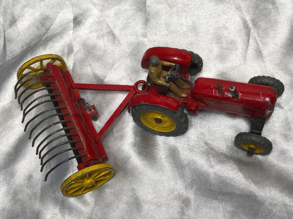 Set 1950's Dinky Toys Massey Harris Red Tractor Plough Manure Spreader Disc Harrow