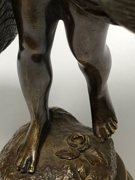 Antique Original Fine 19th Century Girl Carrying Flower Baskets Sculpture Signed Auguste Moreau