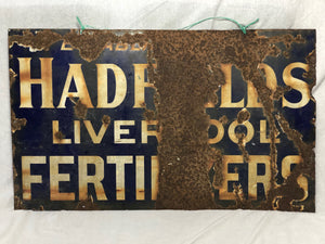Large Vintage Early 20th Century Enamel Sign Hadfields Liverpool Fertilisers