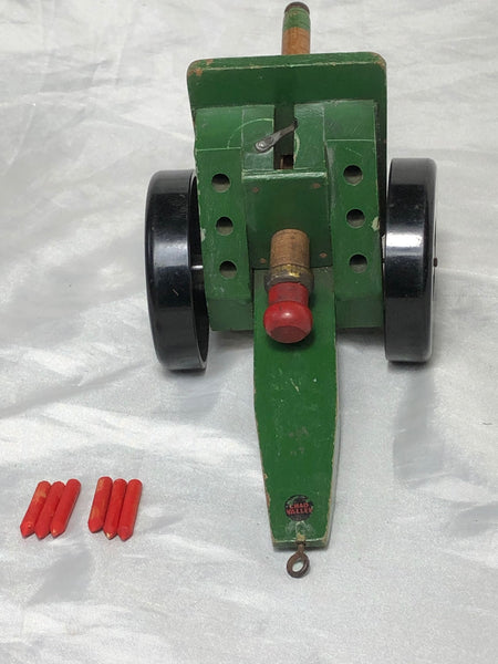 Rare Vintage Model Toy Original Chad Valley Green Cannon Artillery On Wheels
