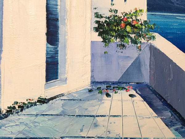 Oil Painting Terraces Balcony Greek Island Seaview After Christoforos Asimis