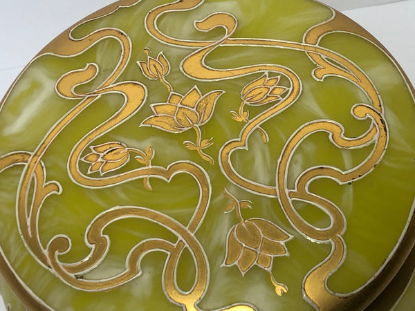 Antique Art Nouveau Loetz Art Glass Round Gilt Floral Trinket Box