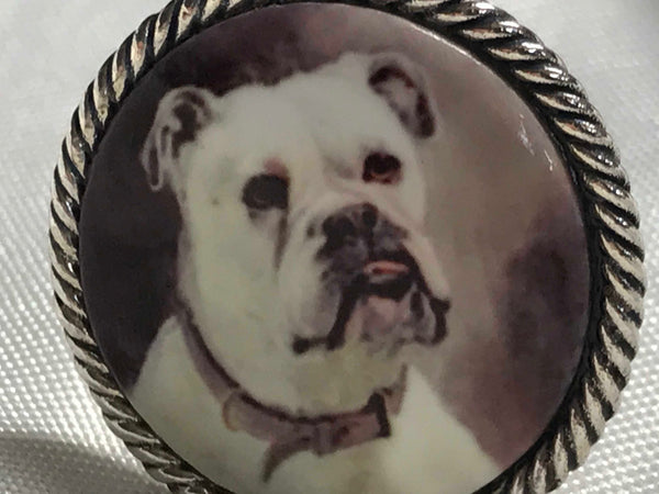 Pair Silver Plate Mens Cufflinks Enamel French Bull Dogs Pictorial Scene