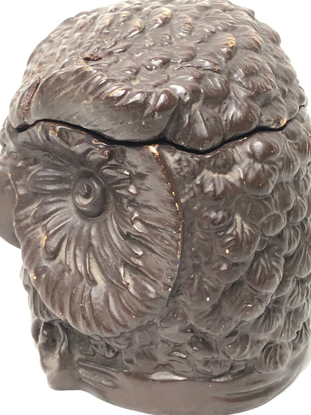 Rare Small Antique Black Forest Eichwald Ceramic Earthenware Owl Tobacco Jar
