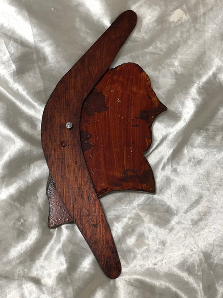 Fine Australian Tribal Art Sculpture Signed Aboriginal Boomerang Wall Plaque