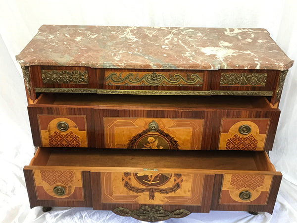 Museum Antique French Empire Regency Style Marble Canted Marquetry Credenza Chest