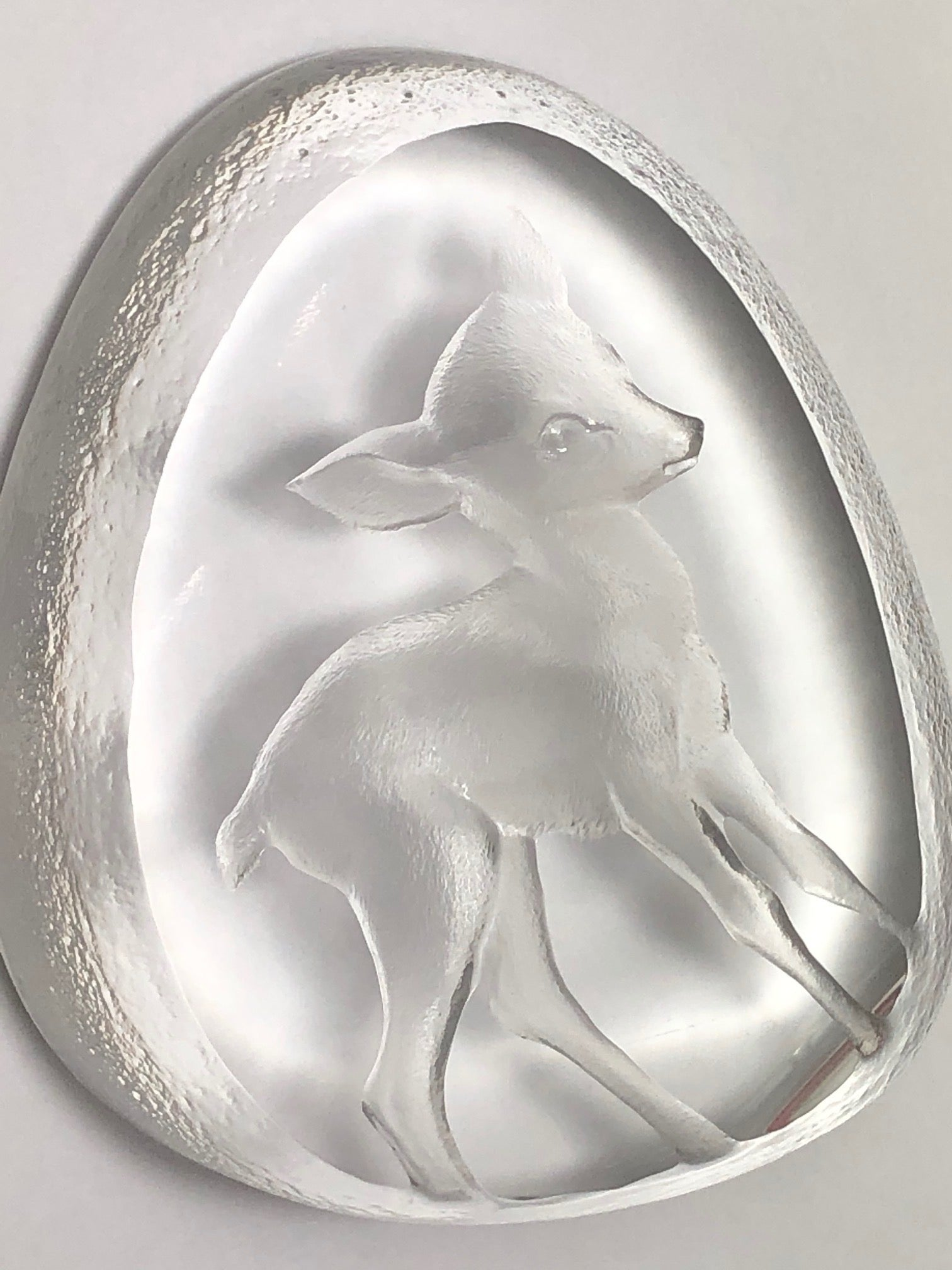Crystal Clear Signed Mats Jonasson Engraved Fawn Roe Deer Paperweight