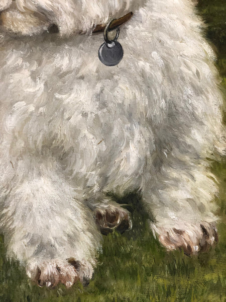 Oil Painting Pet Portrait Highland Westie White Dog Terrier After Samuel Fulton