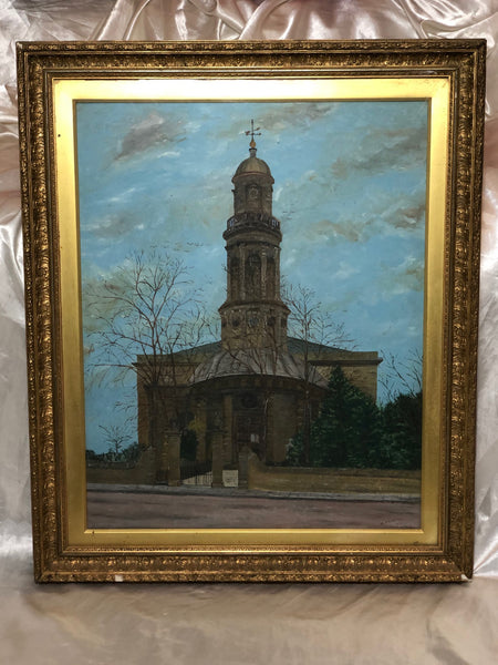 "19th Century English Oil Painting View ""St Marys Church Banbury Oxfordshire"""