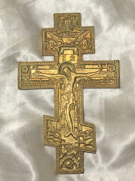 Fine 20th Century Religious Russian Orthodox Ormolu Gilt Bronze Christ Cross