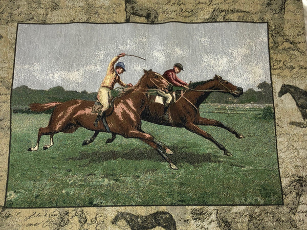 Vintage Wall Tapestry Scottish Horse Trainers Racing Glenrothes Scotland Signed