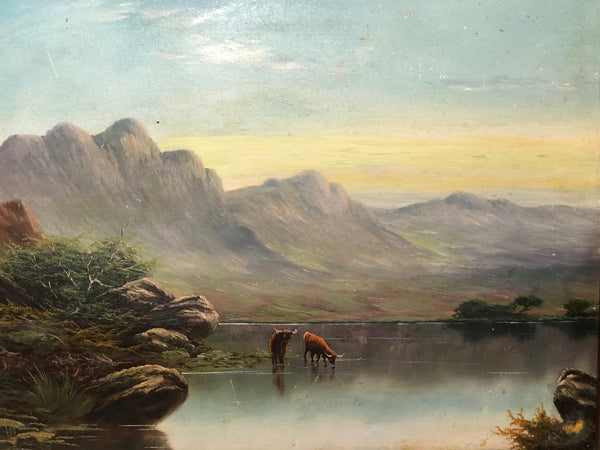 Fine 19th Century Oil Painting Scottish Highlands Loch Cattle After Clarence Roe