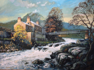 Oil Painting Linton Falls Wharfedale Yorkshire Landscape Artist Keith Cresswell
