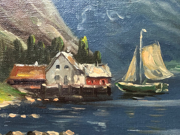Fine German School Oil Painting Impressionism Early 20th Century Norwegian Fjord