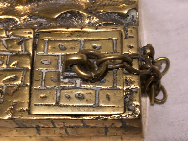 Antique Victorian Late 19th Century Brass Sailing Marine War Ship Inkwell