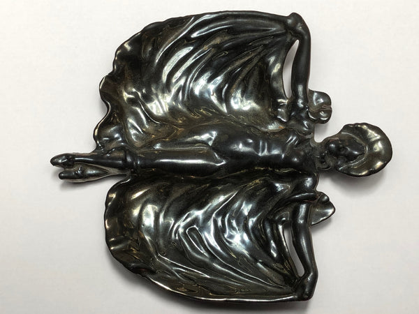 Art Nouveau Cast Iron & Enamel Maiden Lady Jewellery Small Tray Sculpture