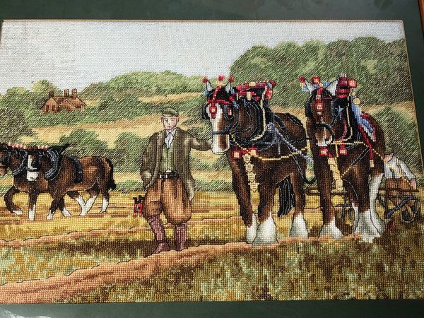 Original Irish Farmer Working In County Cork Field Prized Shire Horses Tapestry