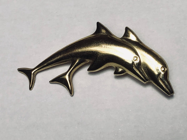 Fine Vintage Jewellery 375 Gold 9ct Dolphins Display Pendant Brooch Sculpture