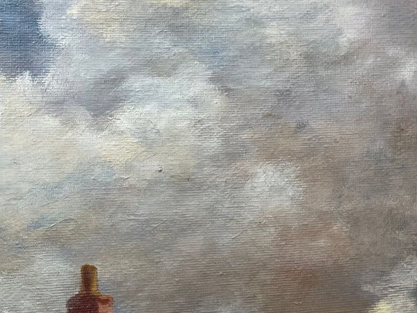 Pair Rare 20th Century Hand Painted Gold French Rose Sculpture Vases
