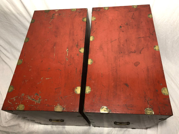 Pair Late Qing Chinese Dowry Marriage Brass Bound Red Lacquer Chests